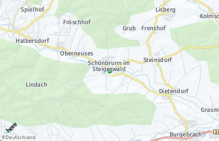 Stadtplan Schönbrunn im Steigerwald