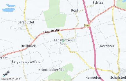 Stadtplan Tensbüttel-Röst