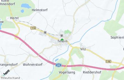 Stadtplan Tessin bei Rostock
