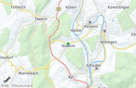 Stadtplan Wawern (Saar)