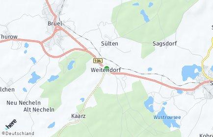 Stadtplan Weitendorf bei Brüel