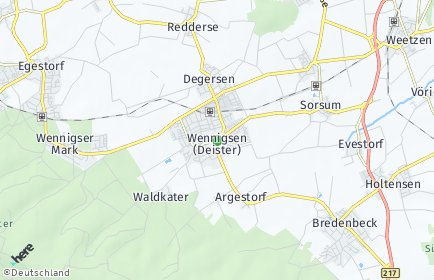 Stadtplan Wennigsen (Deister) OT Waldkater