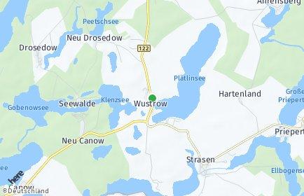 Stadtplan Wustrow bei Wesenberg