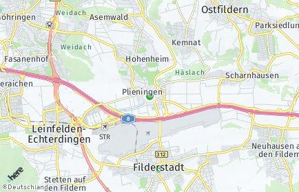 Stadtplan Stuttgart OT Plieningen