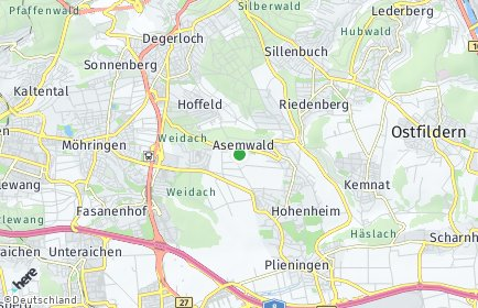 Stadtplan Stuttgart OT Asemwald
