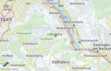 Stadtplan Stuttgart OT Lederberg