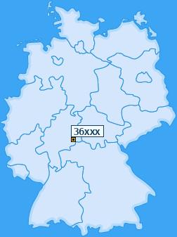 PLZ 36 Postleitzahlen Deutschland Plz-Gebiet 36