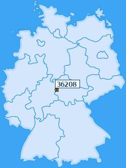 PLZ 36208 Deutschland