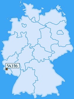 PLZ 54316 Deutschland