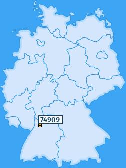 PLZ 74909 Deutschland