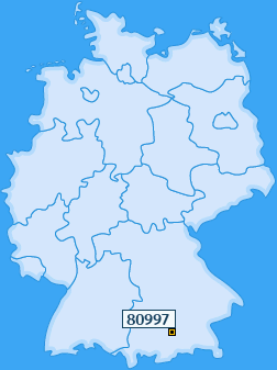 PLZ 80997 Deutschland