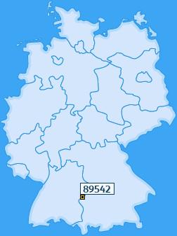 PLZ 89542 Deutschland