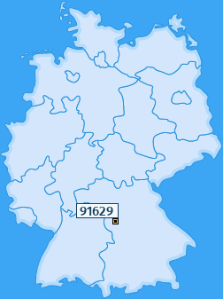 PLZ 91629 Deutschland