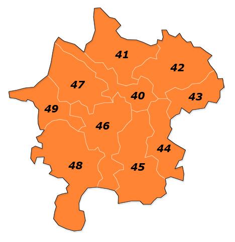 PLZ 4 Postleitzahlen Karte Österreich Plz-Gebiet 4
