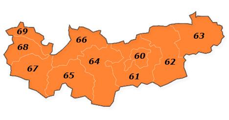 PLZ Karte Tirol - Vorarlberg