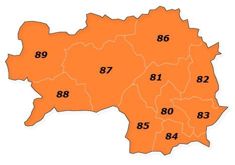 PLZ Karte Steiermark
