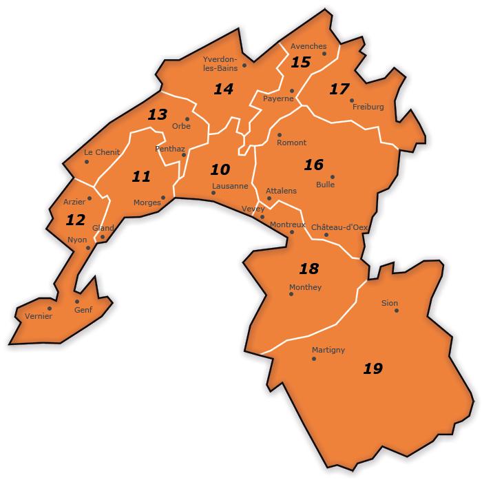 PLZ Gebiet 1 Karte Schweiz