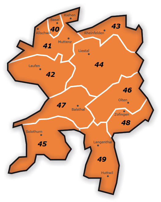 PLZ Gebiet 4 Karte Schweiz