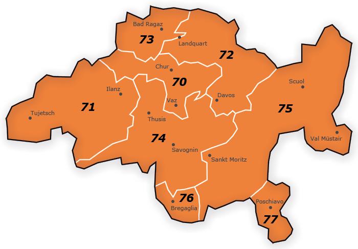 PLZ Gebiet 7 Karte Schweiz