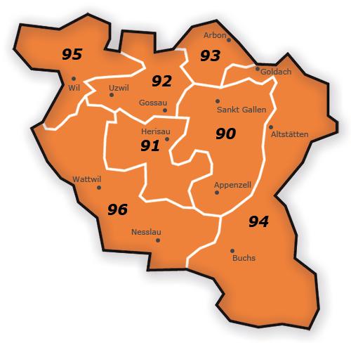 PLZ Gebiet 9 Karte Schweiz