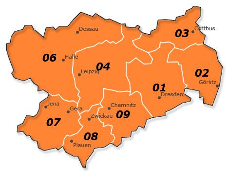 Plz Karte Sachsen - Sachsen-Anhalt - Thüringen - Brandenburg