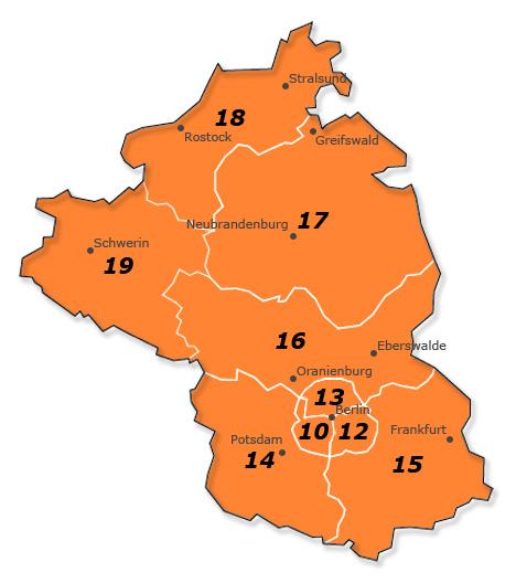 PLZ-Gebiet 1 Deutschland - Karte und Liste aller Orte