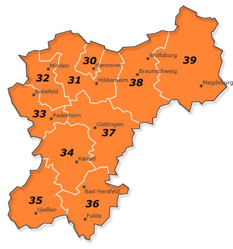 Plz Karte Hessen - Niedersachsen - Sachsen-Anhalt - Nordrhein-Westfalen