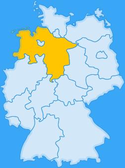 Landkarte Bundesland Niedersachsen