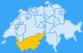 Landkarte Kanton Wallis